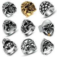 Men's Stainless Steel Gothic Skull Fashion Rings Punk Biker Jewelry Silver/Gold