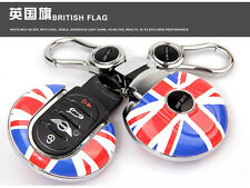 Union Jack Smart Key Case For Mini Cooper F55 F56 Remote Cover Key Ring  Shell