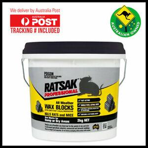 Ratsak 2kg Professional All Weather Wax Blocks Pest Control Mice Rat Poison