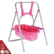 More details for kids doll swing with adjustable handle and removable carry cot for children ages