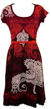 Belle Desigual Liz Rep à manches courtes encolure dégagée foncé robe rouge taille M