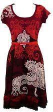 Beautiful Desigual Liz REP Short Sleeved Scoop Neck Dark RED Dress Size S