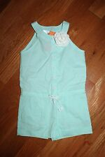NWT Gymboree Ice Cream Parlor Size 5 Mint Green Flower Shortall Romper
