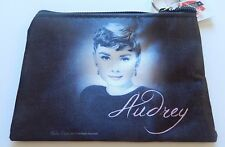 Audrey Hepburn Make-Up/ Cosmetic Bag Pouch- black white-pink lips & lettering