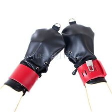 NEW Mitts Lockable Hand / Wrist Restraint PU Leather Restriction Gloves Costume
