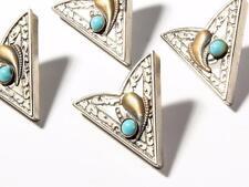 (4) vintage German western style silver tone blue stone shirt collar tips