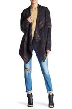 SKY Geometric Print Navajo Knit Contrast Cutout Trim Sweater Size Large