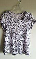 NWT Old Navy Girls 10-12 Short Sleeve FLORAL Shirt NAVY & WHITE Tee #214617