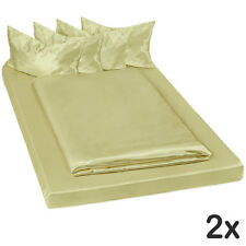 2x ropa de cama satinada poliéster sábana bajera edredón funda 200x150 verde