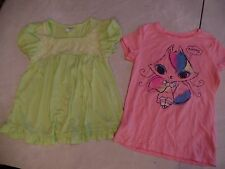 2 girls S/S OLD NAVY D-SIGNED SHIRTS cat LIME GREEN LACE fancy SIZE 8 summer