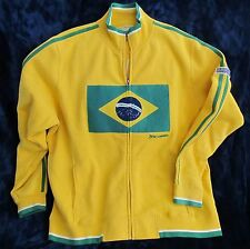 Mondetta Brazil Flag Fleece Sweat Jacket 2XL Full Zip Yellow Green Stripe XXL