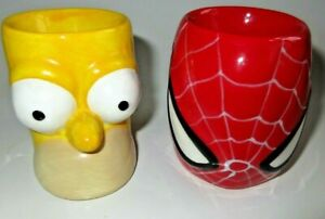 The Simpsons Homer Simpson Ceramic Egg Cup 2008 & Spiderman 2007