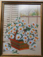 Vintage Finished & Framed Crewel of Daises in Basket -  13x17