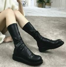 Womens Flats Platform Round Toe Pull On Stretch Mid Calf Riding Boots Shoes 40