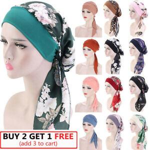 Women Cancer Head Scarf Chemo Pirate Cap Hair Loss Hat Muslim Turban Headwear