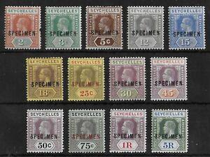 SEYCHELLES 1917-1932 Mint Hinged KGV Set of 13 Stamps SPECIMEN High CV!