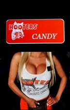Candy Hooters Girl Uniform Name Tag Lingerie Costume Accessory Pin Badge