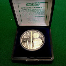 1985 Mexico Large Proof Silver 100 pesos-World Cup Soccer-Nice Box