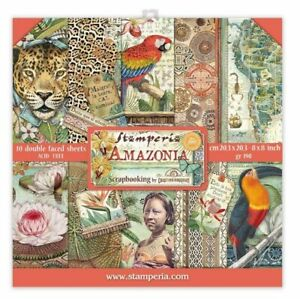 Stamperia AMAZONIA 8x8 Paper Pad 10 Double Sided Sheets Scrapbook SBBS28