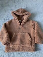 Girls Zara Camel Brown Teddy Borg Fur Coat Jacket Hoodie Age 7