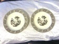 Two's Twos Company Brown Transferware Palace & Garden Floral Wall (2) Plates Nr
