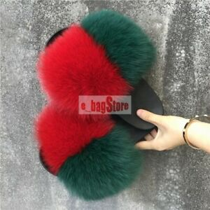 2020 Women's Indoor Luxury Real Fox/Raccoon Fur Sliders Slides Sandals Slippers