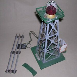 Vintage American Flyer Rotating Beacon Tower Green Wire Attached Marx Toys Track