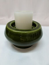 Olive Green Pottery Pillar Candle Stand Holder Heavy Round Chunky 2 Level Signed