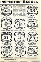 1936 Print Ad of Police Fireman Scout Moonshine Indian Captain & Inspector Badge