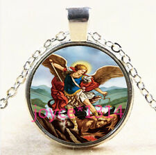 Archangel Michael Cabochon Tibetan silver Glass Chain Pendant Necklace #4075