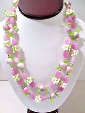 VINTAGE 1960'S PLASTIC FLOWER NECKLACE PURPLE YELLOW GREEN BRIGHT DAISY LEAVES
