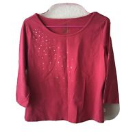 BAY STUDIO Sequined 3/4 Sleeve Top Women's Size Petite Medium