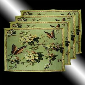 NEW SET OF 4 FRENCH COUNTRY BUTTERFLY FLORAL TAPESTRY DECO TABLE LINEN PLACEMATS