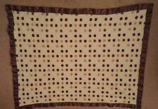 BEANSPROUT Brown White Beige Polka Dot Plush Baby Blanket Brown Trim