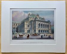 Antique Hand-Colored Engraving Wien Opernhaus in Vienna Austria c. 1870