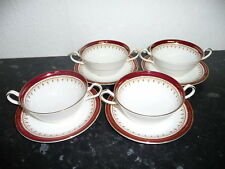 SET OF FOUR (4) AYNSLEY DURHAM BURGUNDY HANDLED SOUP COUPE CUP & SAUCER  UNUSED
