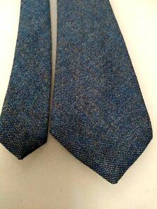 MENS vtg NECKTIE - CAMBRIDGE CLASSICS - BLUE TWEED - 100%  LAMBS WOOL, NOS