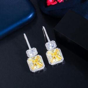 Shiny Yellow CZ Topaz Sqaure Dangle Drop Hook Earrings for Women Fine Jewelry