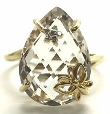 Sterling Silver Gold Tone Faceted Crystal Diamond Accent Butterfly Cocktail Ring