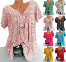 6-24 Women Summer Floral Tunic T Shirt Blouse Ladies Baggy Short Sleeve Tops Tee