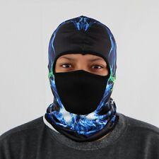 Full Face Mask Hat Balaclava Windproof Ninja Black & Blue Lightning Headcover