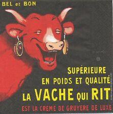2 Serviettes en papier La Vache qui Rit Decoupage Paper Napkins Publicitaire