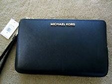 MICHAEL KORS JET SET TRAVEL LARGE DOUBLE GUSSET WRISTLET BLACK/Gold $178