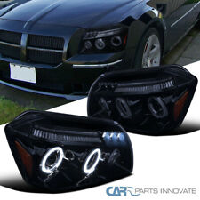 Glossy Black For 05-07 Dodge Magnum Smoke LED Halo Projector Headlights Pair