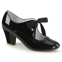 Pin Up Couture WIGGLE-32 Women's Black Patent Cuban Pointed Heel Mary Jane Pumps