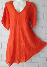 HIPPY GYPSY BOHO   EMBROIDERED ORANGE TUNIC TOP  FREE SIZE 14 16 18  20