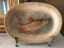 Antique SAXON CHINA 12-Inch Trout - Fish Platter # 17, Wildlife