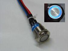 Poussoir Anti vandale métal et éclairage anneau bleu 12V, contact 1A/250v CS343