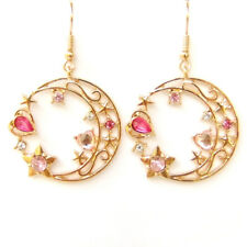 Fairytale Gold Moon Pink Heart Star Crystal Hollow Cut Out Lovely Earrings Gift