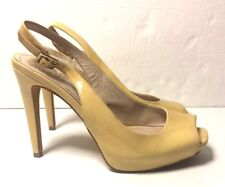 Vince Camuto Patent Leather Sling Back Peep Toe Nude Pumps Sz 8m/38